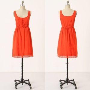 Anthropologie Maeve Oratory Lace Trimmed Bib Dress